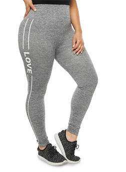 Plus Size Love Graphic Athletic Leggings - 3969061631018
