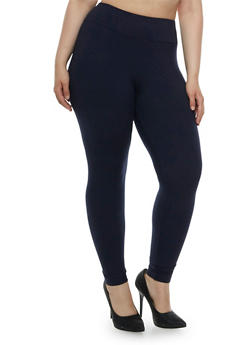 Plus Size Brushed Leggings with High Waist - 3969061631259