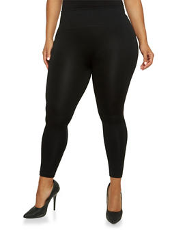 Plus Size Fleece Leggings with High Waist - 3969061631279