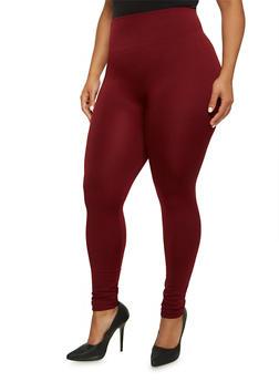 Plus Size Fleece Leggings with High Waist - 3969061631279