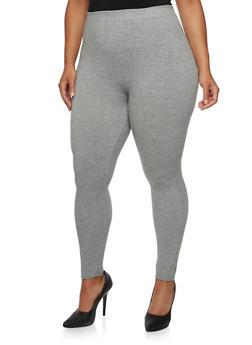 Plus Size Solid Leggings - 3969061631289