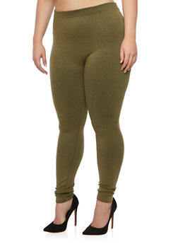 Plus Size Solid Leggings - 3969061631289