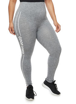 Plus Size Good Vibes Graphic Activewear Leggings - 3969061631800
