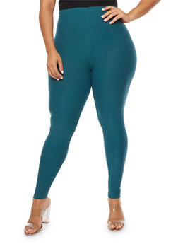 Plus Size Solid Soft Knit Leggings - 3969061636060