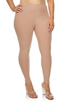Plus Size Solid Soft Knit Leggings - 3969061636060
