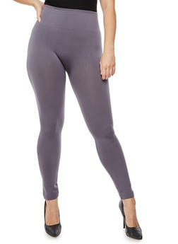 Plus Size Solid Fleece Leggings - 3969061636127
