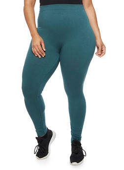 Plus Size Terry Lined Leggings - 3969061636128