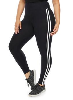 Plus Size Soft Knit Athletic Leggings - 3969061636204
