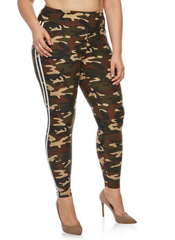 Plus Size Camo Athletic Striped Leggings - 3969061636205