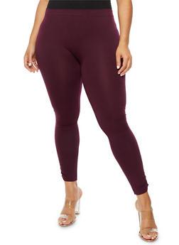 Plus Size Fleece Ruched Leggings - 3969061636207