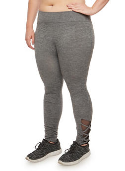 Plus Size Marled Caged Detail Leggings - 3969061636211