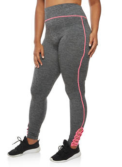 Plus Size Leggings with Lattice Detail - 3969061636221