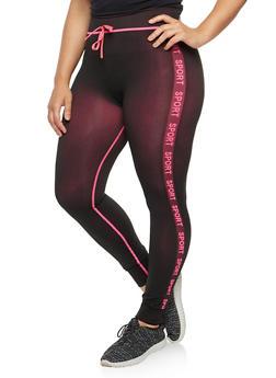 Plus Size Contrast Sport Graphic Leggings - 3969061636225