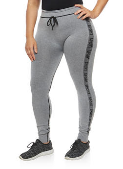 Plus Size Contrast Sport Graphic Leggings - 3969061636225