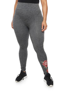 Plus Size Rose Love Graphic Leggings - 3969061636229