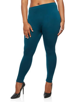 Plus Size Fleece Lined Basic Leggings - 3969061636707