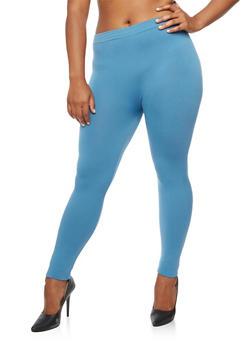 Plus Size Fleece Lined Basic Leggings - 3969061636707