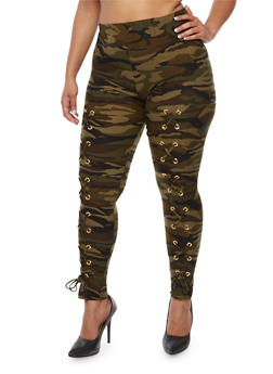 Plus Size Camo Print Lace Up Leggings - 3969062707661