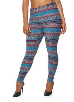 Plus Size Printed Leggings - 3969062900201