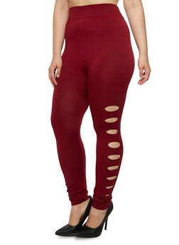 Plus Size Leggings with Slash Detail - 3969062900501