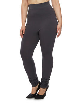 Plus Size Ribbed Leggings - 3969062900502