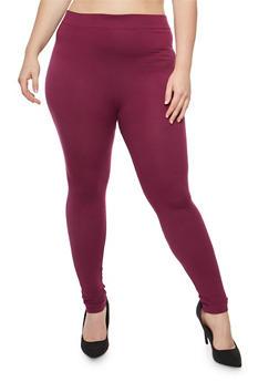 Plus Size Soft Knit Leggings - 3969062900584