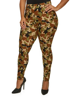 Plus Size Camo Leggings with High Waist - 3969062903501