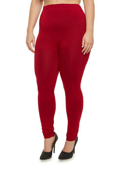 Plus Size Solid Leggings - 3969062903584