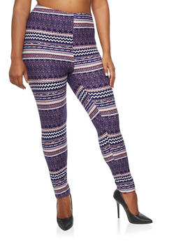 Plus Size Printed Leggings - 3969062903703