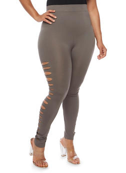 Plus Size Slashed Leggings - 3969062905005
