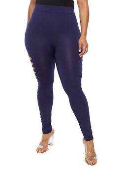 Plus Size Slashed Leggings - 3969062905005