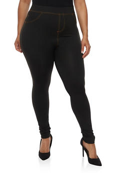 Plus Size Denim Knit Leggings - 3969062906018