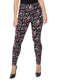 Plus Size Floral Print Leggings - 3969062906102