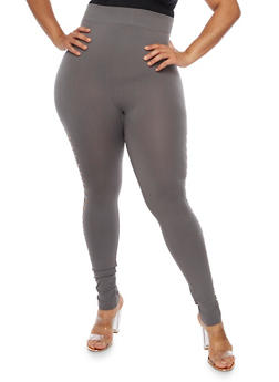 Plus Size Laser Cut Leggings - 3969062906315