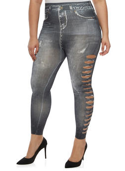 Plus Size Lasercut Denim Print Leggings - 3969062906497