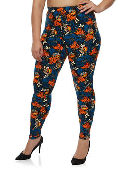 Plus Size Daisy Print Leggings - 3969062907055