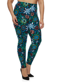 Plus Size Multi Floral Leggings - 3969062907060