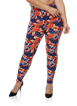 Plus Size Multi Floral Leggings - 3969062907131