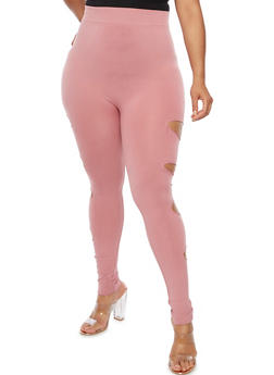 Plus Size Slashed Leggings - 3969062907184
