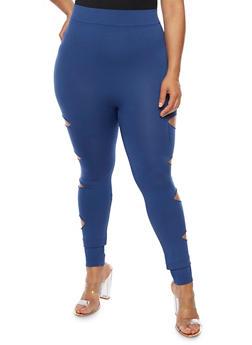 Plus Size Slashed Leggings - 3969062907184