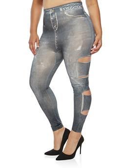 Plus Size Slashed Leg Denim Print Leggings - 3969062907235