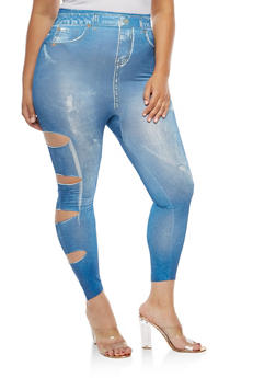 Plus Size Slashed Leg Denim Print Leggings - 3969062907235