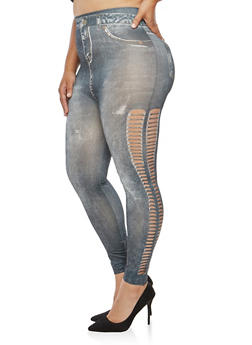 Plus Size Laser Cut Denim Print Leggings - 3969062907239
