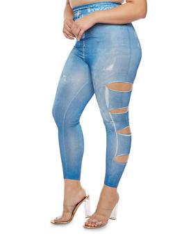 Plus Size Laser Cut Denim Print Leggings - 3969062907239