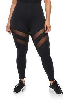 Plus Size Mesh Insert Leggings - 3969062907392