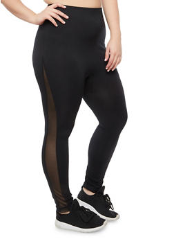 Plus Size Basic Legging with Mesh Insert - 3969062907393