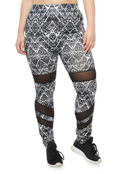 Plus Size Printed Leggings with Mesh Insert - 3969062907395