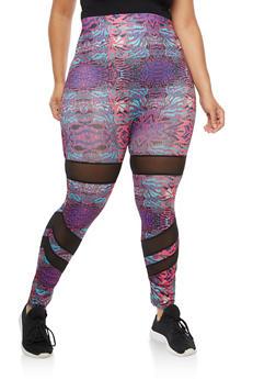 Plus Size Printed Mesh Insert Leggings - 3969062907396