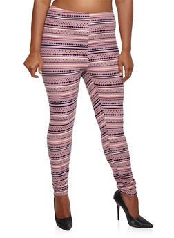 Plus Size Printed Leggings - 3969062908001