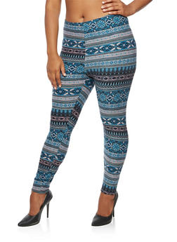 Plus Size Soft Knit Border Print Leggings - 3969062908602